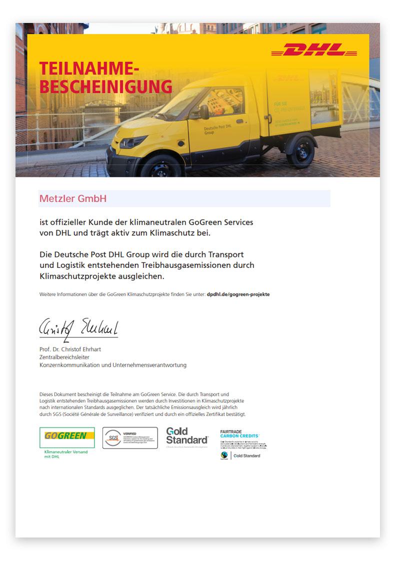 DHL GoGreen Teilnahmebestätigung