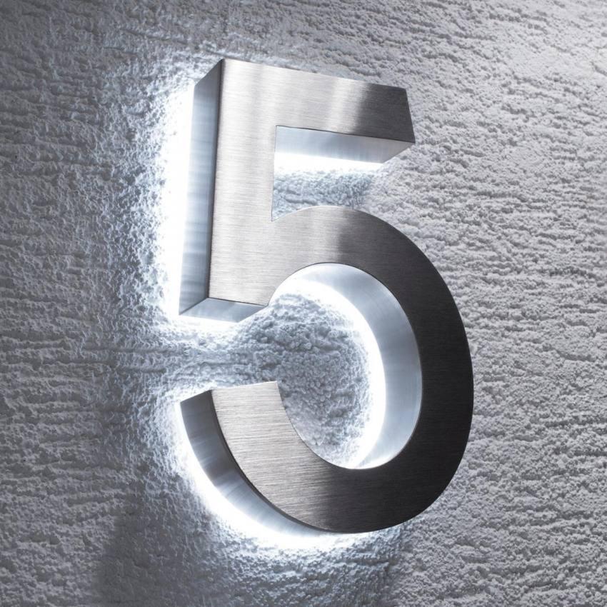 Edelstahl Hausnummer Mit Weißer Led Beleuchtung